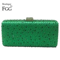 Wholesale Turquoise Green Diamond Women Metal Box Crystal Clutch Evening Bags Hard Ladies Wedding Party Cocktail Shoulder Handbag Purse