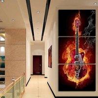 3 Панель настенной живописи Современный дом декорации Черный Пылающий Гитара Pop Art Pictures украшения на холст картины Печатный