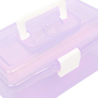 Wholesale PHFU Uxcell a13090200ux0751 Plastic Handle Layer Hardware Tools Storage Box Clear Purple