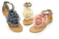 beaded thong sandals - 2017 new chiffon flowers flat thong sandals in the summer Bohemia beaded comfortable flat sandals with big yards size