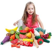 Wholesale 21pcs set Preschool Children Wooden Kitchen Food Fruit Vegetable Cutting Kids Pretend Play House Educational Puzzle Learning Toys Sets