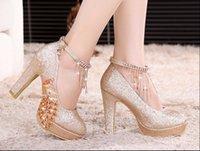 Wholesale Female wedding shoe bind high heels diamond thick with waterproof platform shoes toast wedding dress shoes