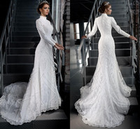 Wholesale High Neck Gorgeous Modest White Lace Applique Beading Muslim Hijab Wedding Dresses Long Sleeves Bridal Gown