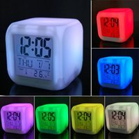 Wholesale 10pcs to USA Color screen LED Digital Home Alarm Clock Multi Function Clock LED Calendar Weather Thermometer control Display