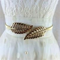 Wholesale Vintage Skinny Elastic Women Belt Leaf Designer Clasp Front Stretch Metal Waist Belt Ceinture Femme Luxury Gold DHL Free