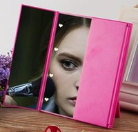 Wholesale New Three Color Cosmetic Mirror Tri Folding Travel Portable Compact Pocket With LED Lights DHL