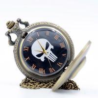 antique skull watch - Vine Retro The Punisher Skull Dial Roman Numeral Quartz Pocket Watch Analog Pendant Necklace Men Women Watches Chain Gift