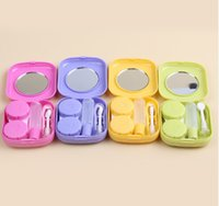 Wholesale 2017 New Cute Style Pocket Mini Contact Lens Case Travel Kit Easy Carry Mirror Container Mixed Colors