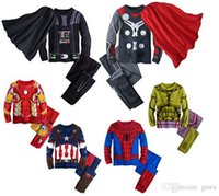 batman characters costumes - 2017 kids clothes set underwear for boys superhero Batman costume Spiderman children sleeping wear clothing sets