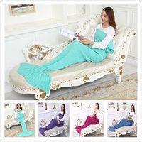 Wholesale Cute Mermaid blanket wool knitting blankets mermaid tail blanket children s winter sofa blanket cm A0516