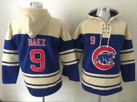 Wholesale Chicago Cubs Javier Baez Blue Hoodie Cheap Champion Sweater Lace Up Pullover Hooded Sweatshirt Stitched Baseball Hoodies for Men