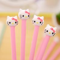 Wholesale mm Cute Cartoon Hello Kitty Pink Cat Girl Black Gel Ink Pen Kawaii Signature Pen Escolar Papelaria School Office Supply