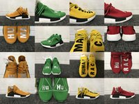 Unisex PVC EVA 2017 Mens and Women Pharrell Williams Human Race NMD Truth Boost Yellow Orange Red Green Running Shoes Sneakers for Men Size Euro 36-48