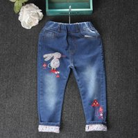 Wholesale 2016 new girls jeans autumn children Embroidered Floral rabbit feet pants pants cuffs