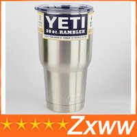 Wholesale YETI Bilayer Stainless Steel Insulation Cup OZ OZ OZ Cups Travel Vehicl Beer Rambler Tumblers Clear lids Sports Mugs by DHL