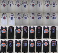Wholesale New Arrival Top Quality Space Tune Squad Black White Running Jerseys Stitched Name and Number throwback jerseys Embroidery Logos