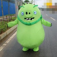 bad dress - High quality animal Angry bird bad pigs Green Belly pig Costume Halloween Christmas Cartoon Mascot Clothing Party Fancy Dress