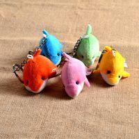 bag tin cans - Cute little dolphin key buckle creative Plush dolphin bag pendant car key button D can be customized logo