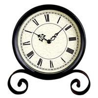Mechanical antique small metal table - Simple Small Black Round Clock Vintage Black Metal Art Table Clock Watch Desktop Clock Vintage cm