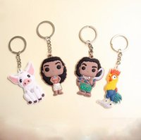 Wholesale New Movie Moana Princess Keychain Maui Hei Hei the Rooster PVC Pendant Keyring Fashion Key chain for Christmas Creative Gift