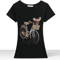 beaded tee shirts - Summer Brand T Shirt Women Bicycle Dog Hand Beaded Slim T shirts Camisetas Short Sleeve Tops Tees O Neck Famous Clothes