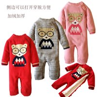 ball bearing materials - European and American classic jacquard bear the infant child jumpsuits pure cotton thread the material is soft coral fleece not ball do