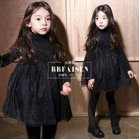Cheap Autumn Winter New Baby Girl Dress Sweet Lace Princess Kid Clothing Long Sleeve Crew Neck Korean Ball Skirt Children Clothing
