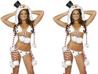 Wholesale Christmas Snowman Clothing Bar Singer Uniforms Christmas Party Sexy Dress Uniforms Temptation Stripe Pompoms Bikini Hat Set Foot