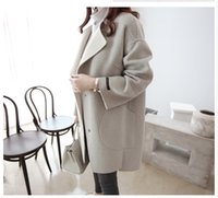 Wholesale Han edition of new fund of autumn winters is loose coat long dress in winter type cocoon show thin wool coat