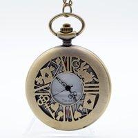 analog writing - Alice in Wonderland The Write Rabbit and Key Roman Numerals and Poker Dial Quartz Pocket Watch Analog Pendant Necklace Men Women
