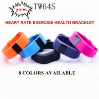 Wholesale 8 colors TW64S upgraded versio Sport Smart Bracelet Heart Rate Monitor Wristband Fitness Tracker Bluetooth For iPhone ios Android Gift
