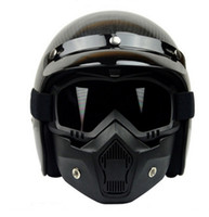Wholesale Motocross windproof helmet Mask Detachable Goggles And Mouth Filter Perfect for Open Face Motorcycle Half Helmet Retro Helmets