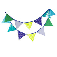 Wholesale m Flags Handmade Blue Dot Cotton Fabric Bunting Pennant Flag For New Born Baby Birthday Party Wedding Supplies Home Decor
