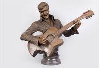 antique bronze busts - Brass Crafted Human Vintage Musical Man Playing with the Guitar Bust Bronze Sculptures Elvis Aron Presley figurine