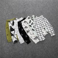 Wholesale SK14 Hot Selling Ins Baby Kids boy girls leggings pants stripped plaid animals print Harem pants Trousers