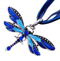 Wholesale Crystal Necklace Pendents - Fashion Jewelry Ribbon Dragonfly Necklace Jewelry Crystal Pendents Women Long Necklace Choker Charm For Christmas Gift