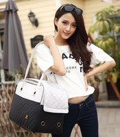 Wholesale 2016 New Dog Carrier Bag Windproof Nylon Diamond Quilty Fashion Luxury Dog Bag Portable Dog Travel Bag Shoulder Pet Carrier Bag