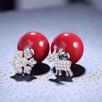 animals with shells - Earring S925 sterling silver with MM red shell pearl jewellery real rhodium plating snowflake and deer stud christmas new year gift