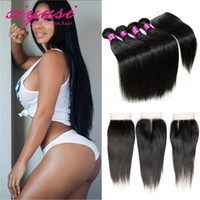 Wholesale Hot A Quality Brazilian Virgin Hair With Closure Brazilian Straight Hair with Closure Bundles With Lace Closure
