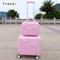 Wholesale Hello Kitty inch Luggage Cabin inch Suitcase set Women Child gift box Lovely cartoon Trip case universal wheels trolley