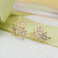 Wholesale Han edition queen mother in same allergy pentagonal star zircon crystal contracted temperament stud earrings earrings earrings