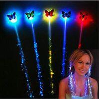 LED de mariposa Flash Braid Mujeres Colorido luminoso Hair Clips Fibra Hairpin Light Up Party Halloween Noche de Navidad Decor CCA5118 1200pcs