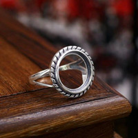 Wholesale Fine Silver x14 mm Round Cabochon Semi Mount Women Engagement Ring Sterling Silver Art Deco Jewelry Setting