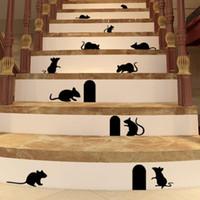 al por mayor agujero de ratas-Etiquetas engomadas divertidas de la pared del agujero del ratón etiquetas engomadas creativas de la pared de la historieta del agujero de la rata