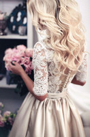 Model Pictures beads online shopping - Champagne Long Sleeve Lace Wedding Dresses With Sash Romantic Wedding Gowns Shopping Sales Online Vestido De Noiva High Quality Custom