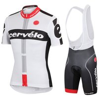 Wholesale 2016 Cycling Jerseys Short Sleeve With Comfortable Padded Bib Trouseres Men Summer Cycling Skinsuit White Bike Wear XS XL Can Mix