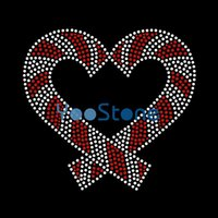Tous les types de chocolat au coeur Candy Cane Hot Fix Transferts en strass Iron On Motif pour Tshirt