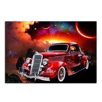achat en gros de foret rouge-Retro Red Car 100% Full Drill Bricolage Diamant Peinture Broderie 5D Croix Stitch Cristal Maison Chambre Décoration Mur Décor Cadeau Artisanat
