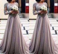 achat en gros de haute empire robes du soir taille-Romantique Gris Dentelle Perlé Cristal Longue Manches Longue Taille Longue En Mousseline De Soie Grossesse Robes De Soirée Robe De Bal E78