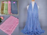 Vente en gros de coton de haute qualité des femmes en dentelle de coton floral châles bandeau concepteur populaire hijab envelopper longs foulards musulmans / écharpe 10pcs / lot